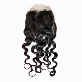 Water Wave 4X4 Free Part Lace Closure 100% Unprocessed Brazilian Virgin Human Hair Natural Color