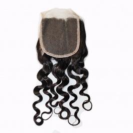 Water Wave 4X4 Free Part Swiss Lace/Transparent LACE/HD Lace Closure 100% Unprocessed Brazilian Virgin Human Hair Natura