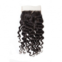 Swiss Lace/Transparent LACE/HD lace Deep Wave Closure 4x4 Free Part with Baby Hair Brazilian Virgin Remy Human Hair Lace