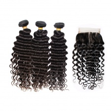 Steam processed deep wave hair extensions Brazilian hair weave 3bundles with lace closure