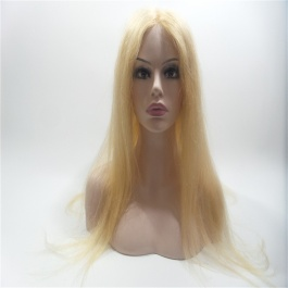 Peruvian Virgin Human Hair Full Lace Mono Wig Layer pressure Straight Blonde Wig Series #613 For Black White Women