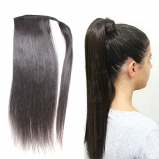 Silky bone Straight wrap around ponytail with clip virgin remy hair
