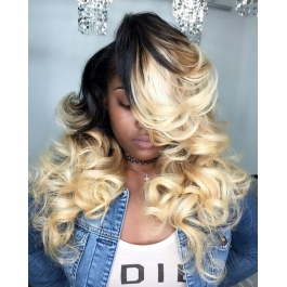 T1B/613 two tone ombre dark roots blonde body wave 100% Remy human hair 3pcs deals