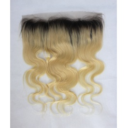 Ombre 1b 613 Blonde Body Wave Frontal Dark Root 13x4 Ear to Ear Lace Frontal
