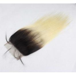 Elesis  Brazilian Darkroot Blonde T1B/613  Straight Human Hair 4x4 Lace Closure