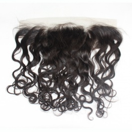 Brazilian Natural Wave Lace Frontal Free Part 13 x 4 inch Ear To Ear Lace Frontal Closure Natural Black Color