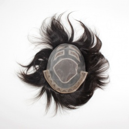 Men's toupee Swiss lace+mono net+PU edge hair length 6inch