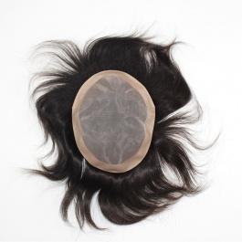 Men's toupee mono net base+ PU edge hair length 6inch