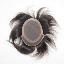 Men's toupee swiss lace base+ PU edge hair length 6inch