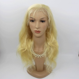 Pre-plucked natural hairline 150% Density Elesis Virgin Hair honey blonde 613 full lace wig body wave texture