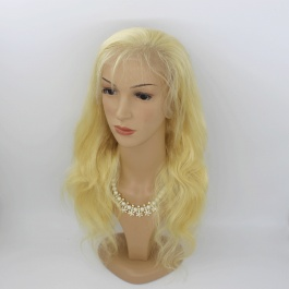 Russian honey blonde body wave frontal lace wig preplucked hairline