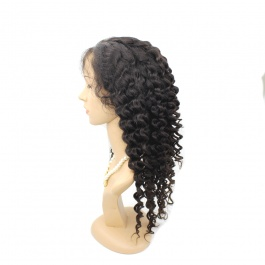 Brazilian Deep Wave Full Lace Wigs 150% Density Virgin Human Hair Pre Plucked Deep Curly Wigs with Baby Hair