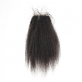 Corase Yaki Kinky Straight Virgin Hair Closure 4x4 free part Swiss Lace/Transparent LACE/HD lace kinky straight closures