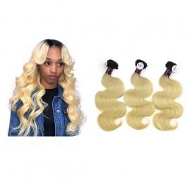Elesis Virgin Hair darkroot blonde Virgin Hair 1B/613 body wave hair extensions 3pcs