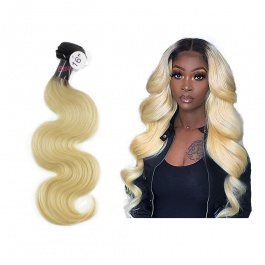 Elesis Virgin Hair darkroot blonde Virgin Hair 1B/613 body wave hair extensions 1pcs 10