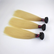 Elesis virgin hair darktoot blonde virgin hair 1b/613 straight hair extensions 3pcs