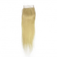 Blonde #613 4x4 Free Part Lace Closure Silky Straight Human Hair Swiss Lace Closure with Baby Hair