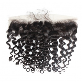 13X4 Water Wave Ear To Ear Brazilian Lace Frontal with Baby Hair Bleached Knots Human Hair