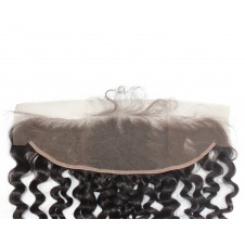 13X4 Water Wave Ear To Ear Brazilian Swiss Lace Frontal with Baby Hair  Transparent Lace/HD frontal Bleached Knots Human