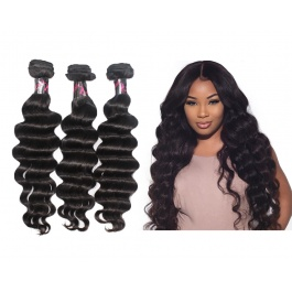 Elesis Virgin Hair Virgin grade Loose Wave Weave Virgin Hair 3 Bundles 300g