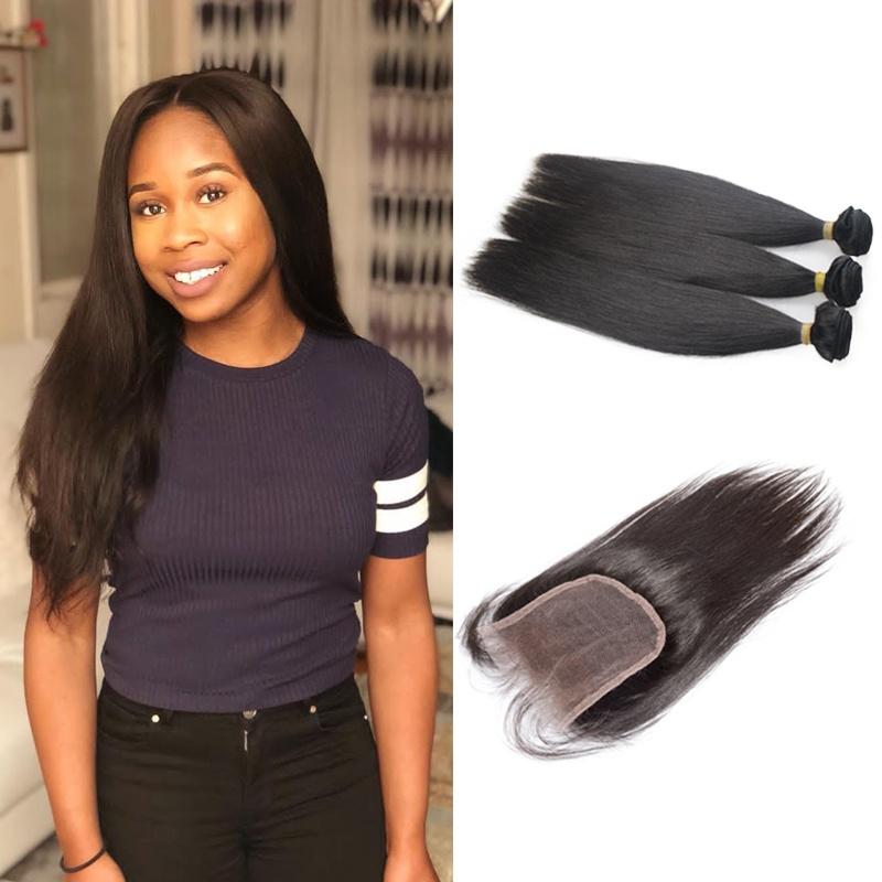 silky soft tanglefree noshedding Peruvian straight hair thick hair 3bundles with 4x4closure