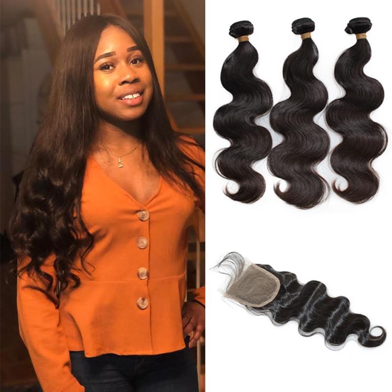 Raw unprocessed virgin human hair Peruvian body wave weaves 3bundles with free part closure