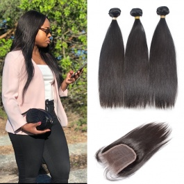 straight human hair extensions 3bundles thick hair with closure freepart brazilian  unprocessed virgin hair
