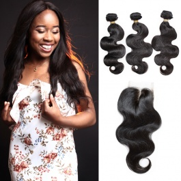 100% virgin Brazilian body wave big wave fresh hair 3bundles with free style closure Dropship