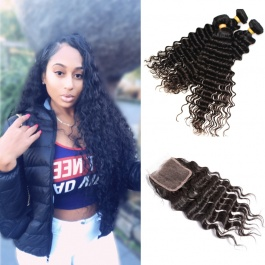 Raw Deep wave Indian hair weft natural color virgin human hair 3bundles with closure