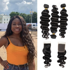 Fab hair Loose Deep Human hair natural color Brazilian Hair Weaving 3bundles with free part closure