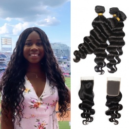 Affordable hair Peruvian loose wave more wave Virgin Hair Extensions 3bundles with free part closure