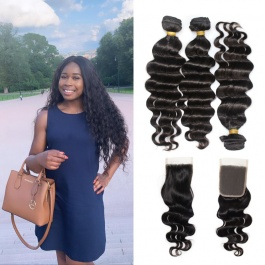 Malaysian loose wave natural black hair 100% human hair weave bundles 3pcs with closure GEM