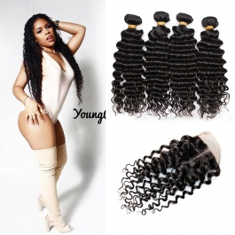 Virgin Grade Brazilian Deep Wave Hair 4Bundles with 4x4closure Unprocessed Virgin Brazilian Human Hair Natural Color
