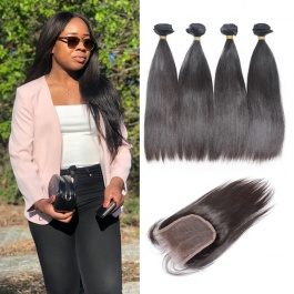 Brazilian straight 4pcs with 4x4closure