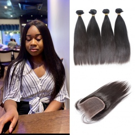 Peruvian straight 4pcs with 4x4closure