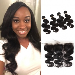 Brazilian body wave 4pcs with frontal