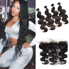 Peruvian body wave 4pcs with frontal