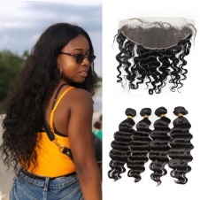 4pcs loose wave Brazilian with frontal