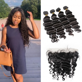 4pcs Peruvian loose wave with frontal