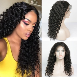 Elesis Deep Wave Full Lace Wigs with Baby Hair Pre Plucked Natural Hairline 130% Density