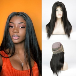 180% Density Brazilian Straight Human Hair Glueless 360 Lace Frontal Wigs with strap and combs Natural Color