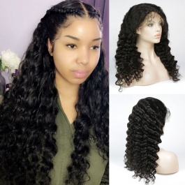 360 lace frontal human-hair wig brazilian loose wave wig for black women glueless 180% density lace front wig