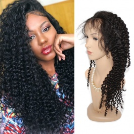 Virgin Grade 150% Density Full Lace Wigs Jerry Curly Virgin Human Hair Wigs With Pre Plucked Hairline