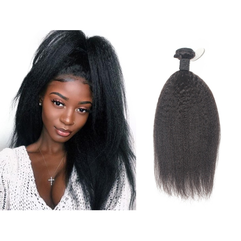 Kinky Straight Hair Extensions Coarse Yaki Straight Hair Bundles Brazilian Remy Human Hair Weave Natural Black Weaving 1