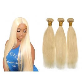613 Remy Straight Hair 3 Bundles double weft Blonde Bundle 100%  Brazilian Human Hair Weft Weave Extensions Thick Silky