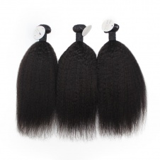 Elesis Brazilian Yaki Kinky Straight Human Hair 3 Bundles Remy Hair Wave Weft Coarse Afro Kinky Straight 100% Human Hair