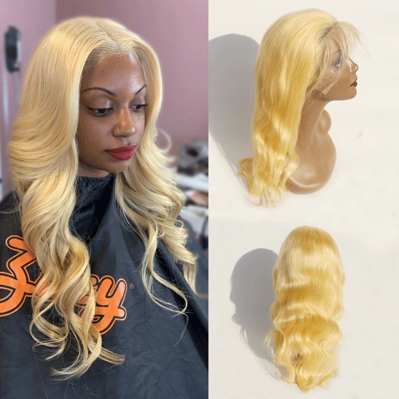 New deep parting 6inch frontal lace wig 13x6 Blonde body wave lace frontal can be dyd Glueless 150 Density
