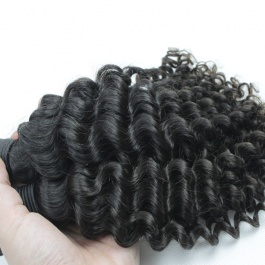 Elesis hair extensions 100% Remy Human Hair Jerry curly small curly natural black color 3pcs/set