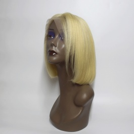 Platinum blonde 613 Human hair wig Bob style double drawn lace frontal wig