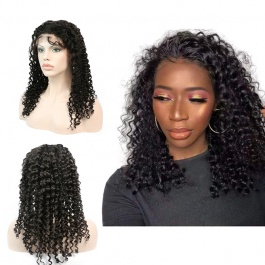 Italy curly Water Wave Glueless Full Lace Wigs Brazilian Remy Human Hair 130% Density